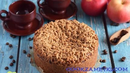Кофейный пирог с творожной начинкой.