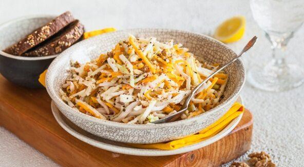 Салат из тыквы с кальмарами