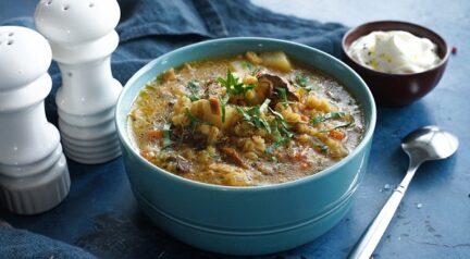 Постный грибной суп с перловкой