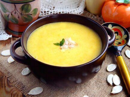 Суп пюре из тыквы с плавленным сыром