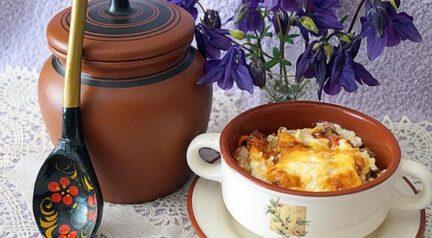 Форель с картофелем и овощами в горшочке