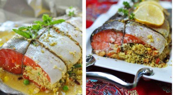 Запеченный лосось, фаршированный кускусом и овощами